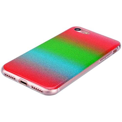 GrandEver iPhone 7 Plus Weiche Silikon Hülle Gradient Grün Gelb Cover Bling Glitter Schutzhülle Crystal Clear Schlank TPU Bumper Glitzer HandyTasche Transparent Rahmen Flexible Ultra Slim Soft Skin Ba Grün Rot Blau