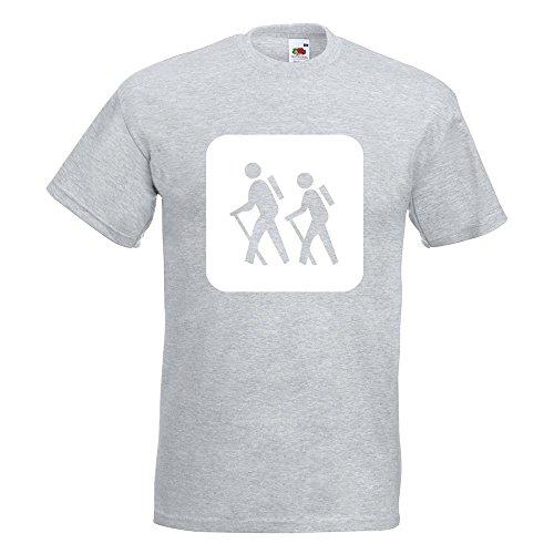 KIWISTAR - Wanderer Piktogramm - Spaziergänger T-Shirt in 15 verschiedenen Farben - Herren Funshirt bedruckt Design Sprüche Spruch Motive Oberteil Baumwolle Print Größe S M L XL XXL Graumeliert