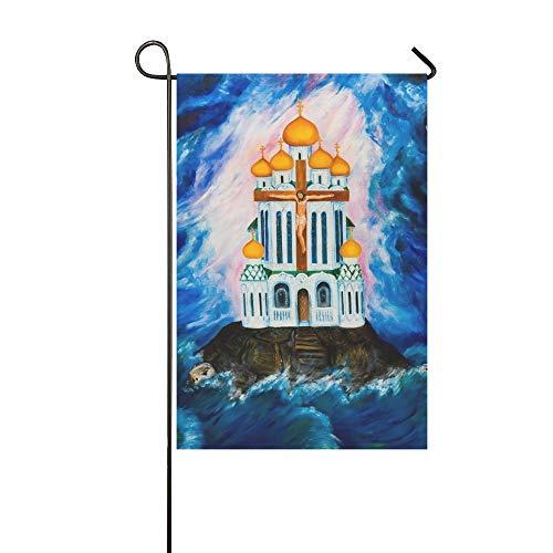 Home Dekorative Outdoor Doppelseitige Orthodoxe Kirche Gegen Dunkle Wolken Garten Flagge, haus Hof Flagge, garten Hof Dekorationen, saisonale Willkommen Outdoor Flagge 12 X 18 Zoll Frühling Sommer Ge