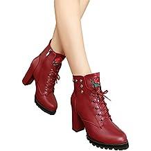Botas de Invierno de Mujer talón, Plataforma de Dedo del pie Mujeres Retro