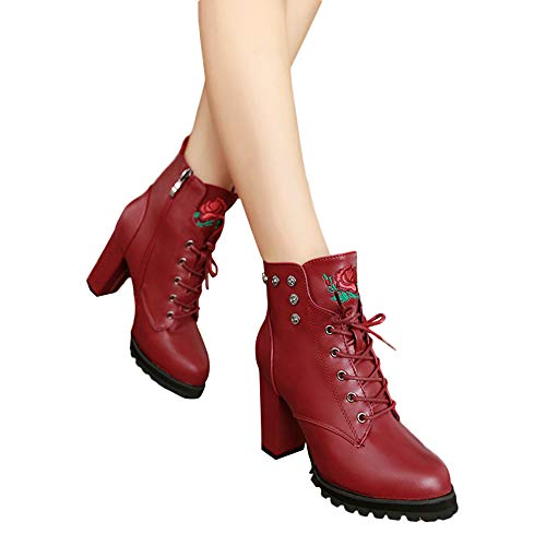 MYMYG Schuhe Stiefel Sneaker Damen Suede Round Toe Lederschuhe Flache Booties Lace Up Stiefel Zipper Schuhe Motorradstiefel Rutschfeste Booties Segelschuhe -
