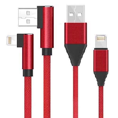 [5 Pack 1 m / 3.3ft] Lightning zu USB Kabel für iphone, 2 Pack Gerade Kopf Nylon Daten Sync Kabel und 3 Pack Abgewinkelt Rechts blitz Geflochtene Netzkabel für iphone 8 7 7 Plus 6 6 S 6 S Plus Se 5 S