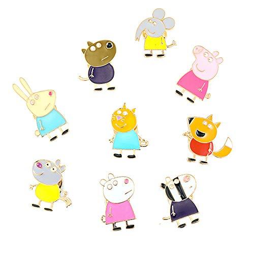 @Y.T 9-teilige Kombination Cartoon Anime Schwein männlichen und weiblichen Brosche Tasche Bekleidungszubehör Abzeichen Brosche