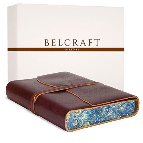 Venezia Romantica mittelgroßes Notizbuch aus Leder, Handgearbeitet in klassischem Italienischem Stil, Geschenkschachtel inklusive, Tagebuch, Lederbuch (12x17 cm) Dunkelbraun -