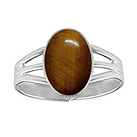 14x10mm Oval Genuine Tiger's Eye Cabochon Silver Plated Adjustable / Expandable Ring