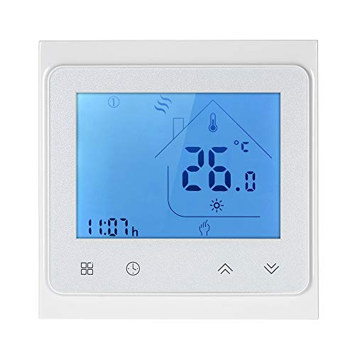 Decdeal Raumthermostat 5A Programmierbare Wifi LCD Digital Display Touchscreen Thermostat mit Sprachsteuerung Funktion 0.5 ° C Genauigkeit für Fußbodenheizung Wasserheizung