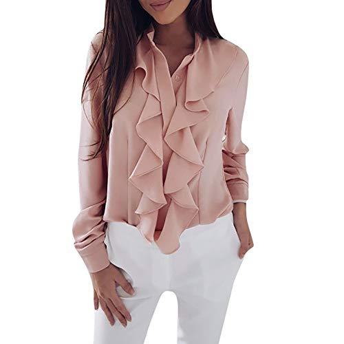TUDUZ Damen Bluse Elegant Chiffon V-Ausschnitt Langarm Oberteil mit Rüschen Vorne Tunika Hemd T-Shirt(L,Rosa)