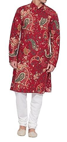 ShalinIndia Männer Baumwoll Lange Kurta Nehru Kragen 3 Taschen, M-CLK42-1015, Weinrot, (Kostüm D'indien)