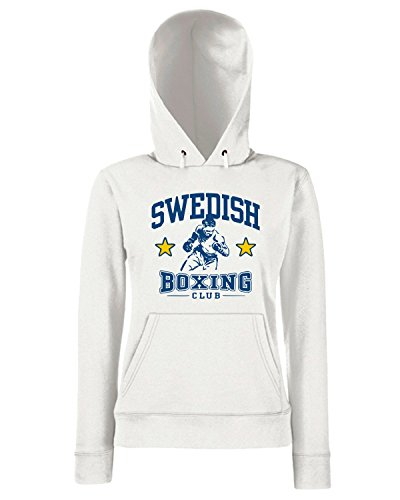 T-Shirtshock - Sweats a capuche Femme TBOXE0039 swedish boxing Blanc