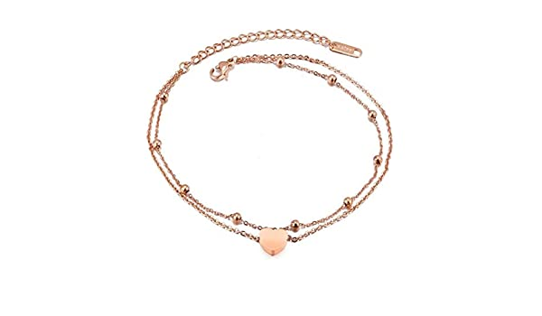 SIYWINA Foot Jewelry Girl Bracelet Anklet Dual-Use Love Double-Layer Anklet