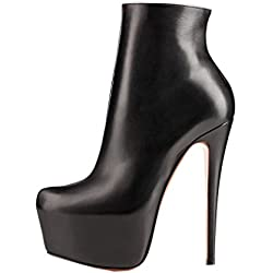 Arc-en-Ciel Damenschuhe Leder-Absatz Reißverschluss Stiefelette-black-US14