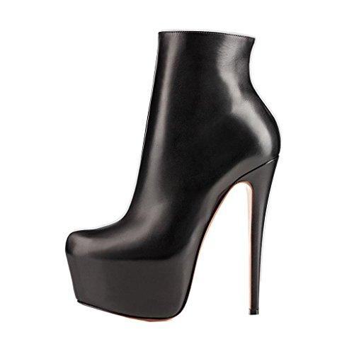 Arc-en-Ciel Damenschuhe Leder-Absatz Reißverschluss-Schnürstiefel Schwarz