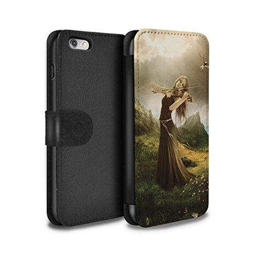 Officiel Elena Dudina Coque/Etui/Housse Cuir PU Case/Cover pour Apple iPhone 6 / Mélodie du Silence Design / Réconfort Musique Collection Chanson de Fleurs