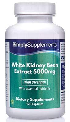 Weißer Kidneybohnen Extrakt 5000mg - 120 Kapseln - Blockiert bis zu 30% täglich aufgenommener Kohlenhydrate - Simply Supplements -