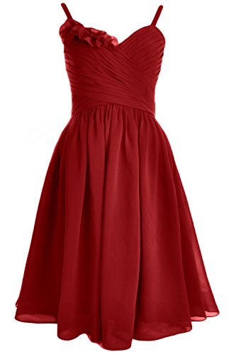 MACloth Spaghetti Straps Short Bridesmaid Dress Wedding Party Formal Gown Burgundy