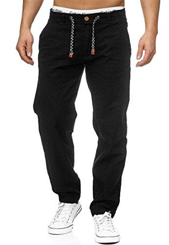 Indicode Herren Veneto Leinen-Hose Lange Hose Bequeme Stoffhose aus hochwertiger Leinenmischung Black L