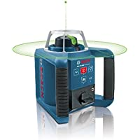 Bosch Professional GRL 300 HVG - Nivel láser giratorio verde con receptor LR1 G, regla graduada GR240, trípode BT 300 HD (alcance 300 m con receptor, cargador, maletín)