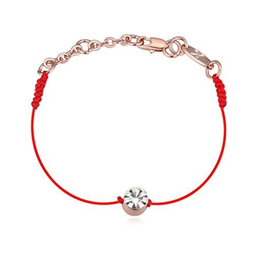 Aooaz oro rosa placcato braccialetto per le donne, matrimonio braccialetto a catenas CZ cristallo Zirconia cubica, retrò rosso corda