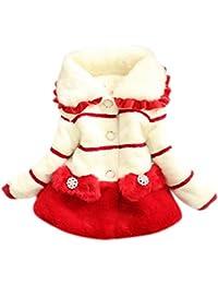 Happy Cherry Enfants Tout Petit Filles Princesse Fausse Fourrure Hiver Chaud Veste Manteaux Fausse Fur Fleece Fleur 2-7ans Stature 70-130CM Rouge/Noir/Magenta