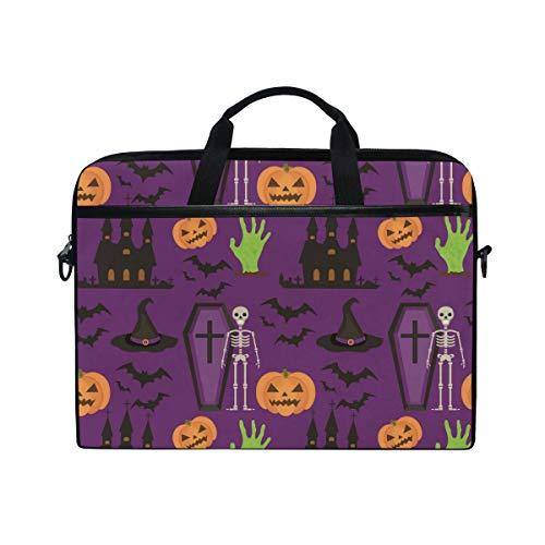 Ahomy 14 Zoll Laptop-Tasche, Halloween, Schloss, Fledermaus, Totenkopf, Kürbis, Leinenstoff, Laptop-Tasche mit Schultergurt für Damen und Herren