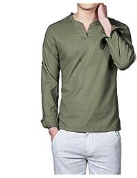 bdb7e863fd15 ALIKEEY Camisas Lino Tradicionales para Hombres Manga Corta con Cuello  Casual Blusa Suelta Camisetas Sueltas Cool