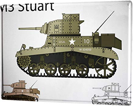 mengliangpu8190 Aluminum Sign, Retro Sign Vintage Decorative Tin Sign Metal Plate Poster Plaque Military Tank M3 Stuart 12