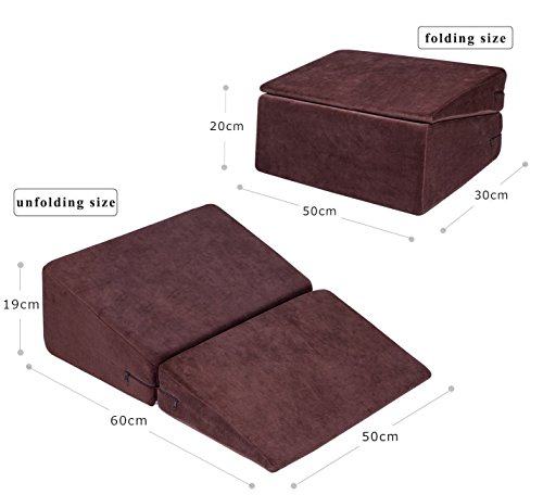 Angel Folding Foam Bed Wedge Pillow with Removable Washable Cover – Leg Rest Cushion Pillow for Back Support, Elevating Legs and Acid Reflux (Brown)