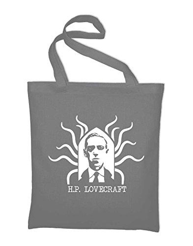 HP Lovecraft Potrait Fan Jutebeutel Light Grey