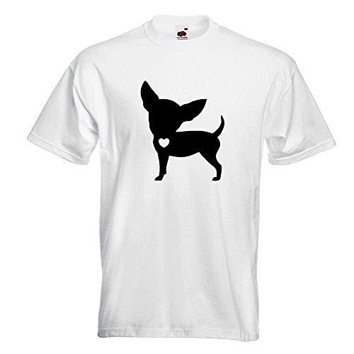 KIWISTAR - Chihuahua Love Silhouette T-Shirt in 15 verschiedenen Farben - Herren Funshirt bedruckt Design Sprüche Spruch Motive Oberteil Baumwolle Print Größe S M L XL XXL Weiß