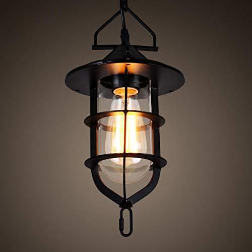 SGWH Loft Lámpara colgante de luz Diseño industrial Lámpara colgante de remolque Retro Lámpara colgante vintage Lámpara de jaula de hierro Sombra E27 Luz de techo negra para comedor Mesa de comedor Pa