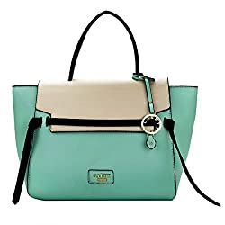 Cathy London Womens Handbag, Material- Syntethic Leather, Colour- Turquoise/Beige