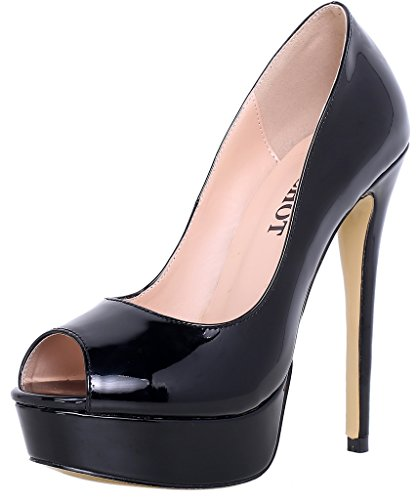 ELEHOT Donna Cancer tacco a spillo 15CM Leather Sandali, nero,