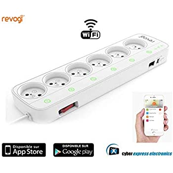 Revogi pour Cyber Express Electronics - Rallonge bloc Multiprise intelligente Connectée 6 prises Wifi interrupteur compteur pilotable à distance par ...