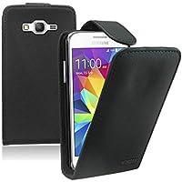 Membrane - Negro Funda Carcasa para Samsung Galaxy Core Prime (SM-G360F) - Flip Case Cover + 2 Protector de Pantalla