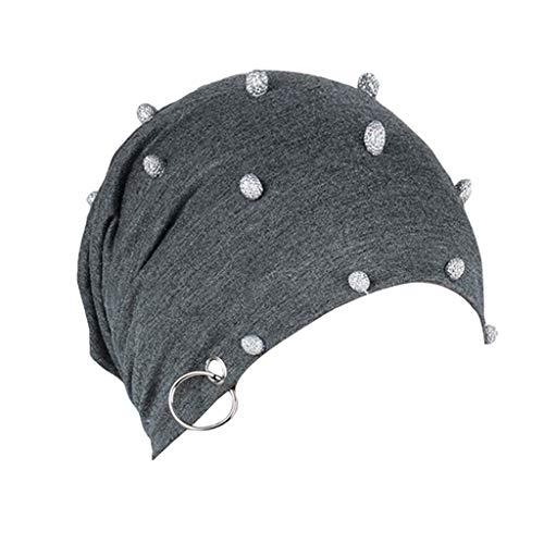 Long Beanie | Frauen Soild Strass Eisen Turban Hut Stricken Haarausfall Kopftuch Wrap Street Classics | Beanie, Mütze für Chemo, Sport, Schlaf, Haarausfall (Dunkelgrau) ()