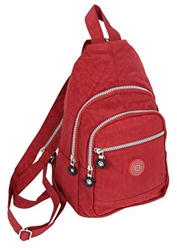 Kleiner Daypack sportlicher sehr leichter City- Rucksack Trekking crossbody Backpack Freizeit Fahrrad Sport Wandern Reise 6 Farben 2257 (Rot)