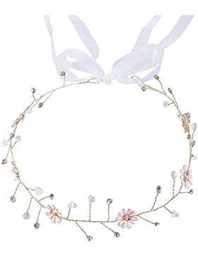 Damen Künstliche Perlen Kristall Blumen Haarkamm Braut Haarschmuck Hochzeit Party Zubehör (Silber)