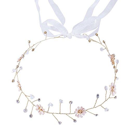 Han Lucky Star Vintage Kristall Perle Blumen Art Deko Braut Haarband Haarschmuck Kopfschmuck für Hochzeit Party Ball (Blumen - Golden)