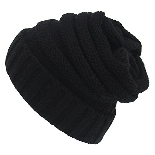 winter-beanie-hat-chunky-knitted-beany-cap-one-size-fits-all-black