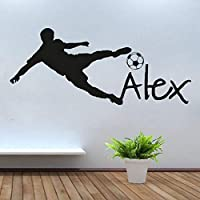 Personalized Name Vinyl Wall Decal Sticker for Nursery Football Soccer Ball Custom Name Wall Sticker for Kids Bedroom Huang 57X130Cm