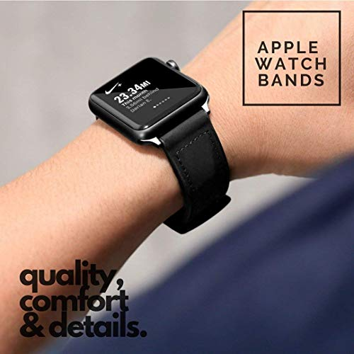 Market affairs Rubber Hybrid Leather with Metal Clasp Strap Compatible with Apple Watch [42mm/44mm] Series 1,2,3,4,5 - Black