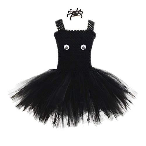 AMOSFUN Halloween Baby Tutu Kleid mit spinne Haarspange Baby mädchen mesh kostüm Set Leistung tanzen Kleid für mädchen Halloween Maskerade Party Baby Foto kostüm (größe - Erwägungsgrund Kostüm