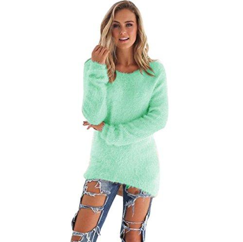 Vovotrade Mode Femmes Décontractée Solide Pull à Manches Longues Blouse Vert