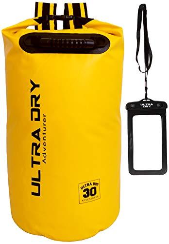 Ultra Taschen (Premium Wasserdichte Tasche, Sack mit Handy-Trockentasche und langem, verstellbarem Schultergurt, ideal für Kajakfahren/ Bootfahren/ Kanufahren / Rafting / Schwimmen / Camping (Gelb, 30 Liter))