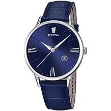 Festina F16824/3 - orologio da uomo al quarzo con quadrante analogico blu e cinturino in pelle.