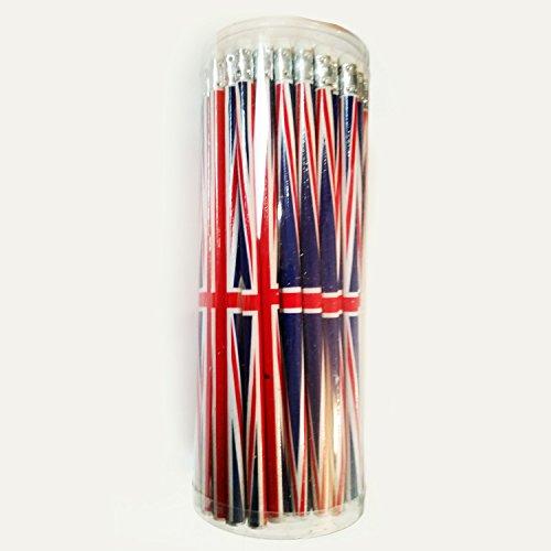My London Souvenirs Bleistift-Set, 72Standard-Bleistifte mit Radierer/Gummi, Union-Jack-Design, in Kunststoff-Verpackung, Geschenk-Set, S01 -