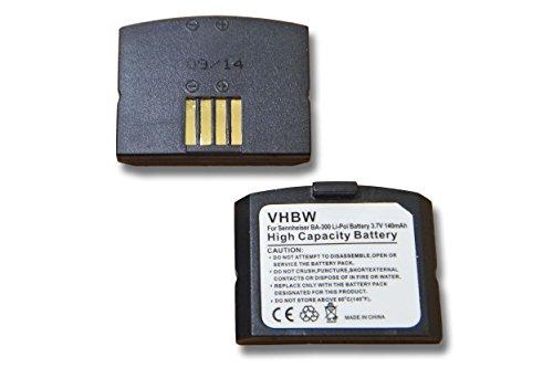 vhbw 2x Batteria Set 140mAh (3.7V) per Cuffie Sennheiser SET 830 S, SET 830-TV, SET 840, SET 840 S, SET 840 TV sostituisce BA-300, BA300.