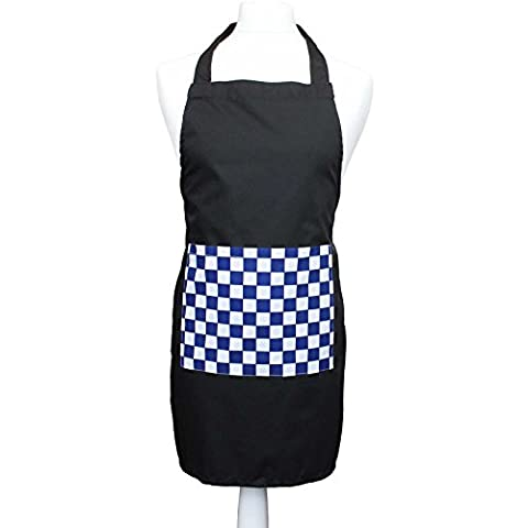 Childrens Kitchen Cooking Fun Black Apron With Various Checked Pocket Colours (Blue Check 6-8