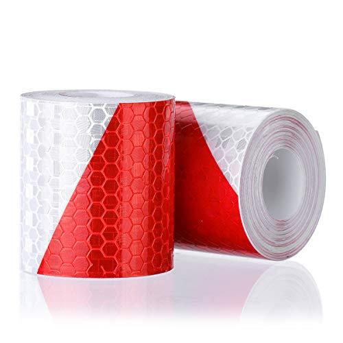 Preisvergleich Produktbild OUTEFDO 2 Rolle Reflektorband Klebeband für SicherheitSicherheit Warnklebeband Sicherheit Markierung Band 5cm x 3m (Rot und Weiß)