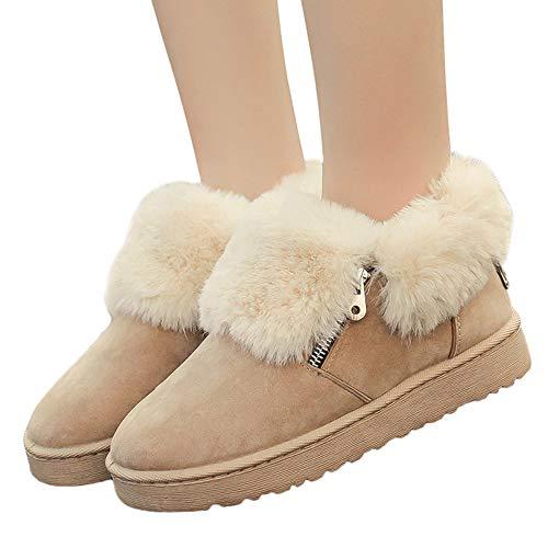 MYMYG Winter Schneeschuhe Damen Frauen Plüsch Winter Knöchel Schnee Stiefel Winter Schuhe Warm Metall Zipper Boots Walkingschuhe Freizeitschuhe Baumwolle Winterschuhe Pelz ()